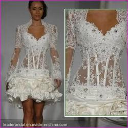 حفلة كوكتيل قصيرة مثيرة اللباس Lace lan Sleeves الزفاف اللباس L06