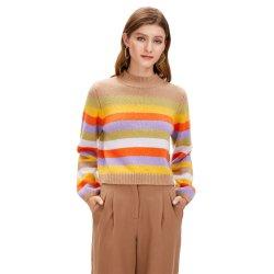 새로운 스프링 스웨트셔츠 화려한 스트라이핑된 크루 넥 여성용 패션 스웨터