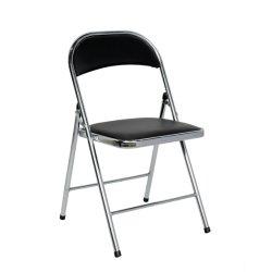 Commercialine 비닐 시트 Breakroom 까만 덧대진 의자를 가진 까만 금속 접는 의자