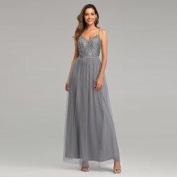 Серебристый серый Sexy простой строп по складкам долго Homecoming вечерние платья