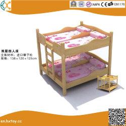 幼稚園の純木の家具の子供の木のダブル・ベッド