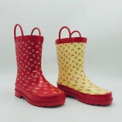 ツートーンキッズラバーブーツレッドとライトイエロー防水雨 ブーツ新しい方法設計