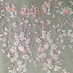 3D dentelle florale Tissu Tulle Dessins et modèles de broderie pour robe de mariée