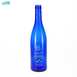 500ml 1000ml 50cl 100cl Kobalt-blaues Wasser-Getränkesaft-trinkende Glasflasche für Überwurfmutter mit Silkscreen-Drucken-Abziehbild-Dekoration