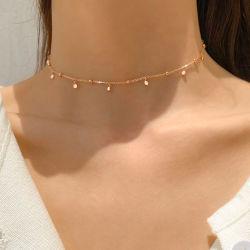 925人の純銀製の敏感な上品な女性の短いチョークバルブの鎖のマイクロは小さいCZの魅力の金の鎖のネックレスを舗装する