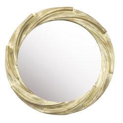 Espelho de madeira redonda com tinta de água