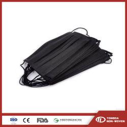 3 Folhas de PP Nonwoven máscara preta descartáveis para salas brancas