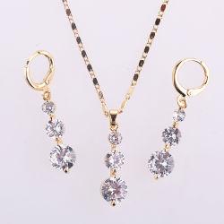 Свадебной моды сплава серебряный позолоченный кольца ожерелья Earring ювелирные изделия с CZ Pearl Crystal