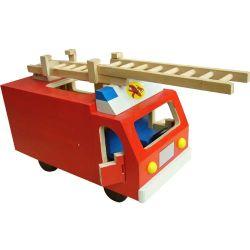 Детей в больших деревянных пожарных погрузчика