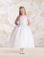 Роскошный букет Embroid девочек платье для свадьбы Organza Tea-Length белого цвета