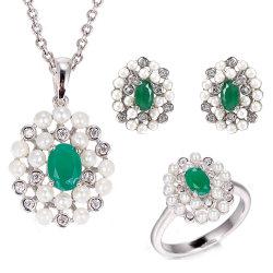 Мода украшения молочный зеленый жемчуг украшения, циркон мода украшения серебристые украшения, 925 серебристые подвесной серьги кольцо ювелирные изделия,