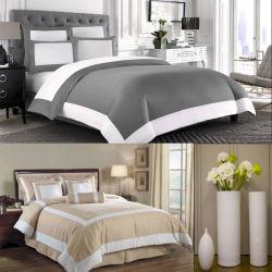 Branco e Taupe Hotel edredão de plumas cobrir 6 PCS extras (DPFB8086)