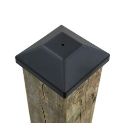 Coluna de cerca de 4X4 tampas pretas de madeira tratada de Pressão