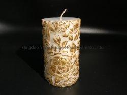 La cire de paraffine faites sculpter fleur avec couleur or Usefor pilier bougie Home Decor Décoration de Noël