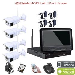 """CCTV dell'interno esterno senza fili del kit dell'allarme di 4CH 1.0 Megapixel NVR con """" video 1tb HDD dell'affissione a cristalli liquidi 10"""