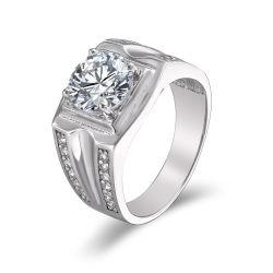 925 Joyería de Plata con Cubic Zircon de anillos de compromiso del hombre.