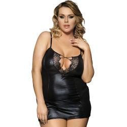 Plusgrößen-Oberseite-Form-reizvolle Dame Bedroom Wear Leather Lingerie