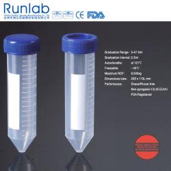 A FDA e aprovado pela CE 50ml Conical-Bottom Tubos de centrífuga com graduação impressa no saco de Peel Pack