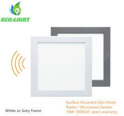 3 anos de garantia de alumínio de formato quadrado fino 18W Microloves Microondas na luz de tecto LED do Sensor do Radar