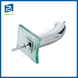 Cachoeira da torneira de vidro temperado transparente alavanca única pia do banheiro toque