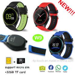 Diseño compacto nuevo reloj teléfono inteligente con ranura para tarjeta SIM W9