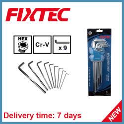 Fixtec 9PS gesetztes CRV Chrom überzogene Hex Schlüssel-Schlüssel-Handhilfsmittel