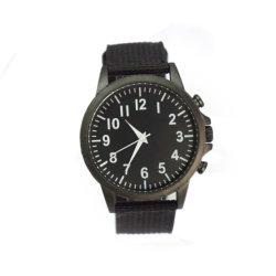 Fabrico de ligas caso Preto Grande Rosto homens Relógios de quartzo (cm19127)