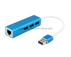 Boîtier métallique Hub USB 3.0 Cas avec la carte LAN 1000 Mbits/s