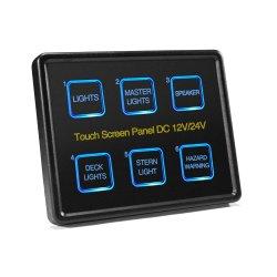 Mictuning 12V/24V Touch Screen schält Schalter-Panel-dünnen Noten-Basissteuerpult-Kasten des Panel-6 der Gruppe-LED für Auto-Marineboots-Wohnwagen