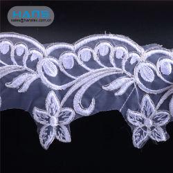 Hans 자유로운 디자인 부드럽게 백색 신부 수를 놓은 Tulle 레이스 직물