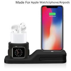 De nieuwe Tribune van Silicone 4 van 2019 In1 Zachte voor Tribune Charing van Airpod Iwatch van iPhone de Multifunctionele Geschikt voor het Draadloze Belasten met KleinhandelsVerpakking