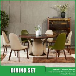 Noyer ronde en bois Meubles de salle à manger ensemble avec plateau en verre Platine