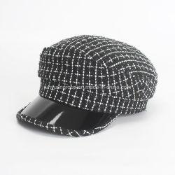 Moda OEM Tweed Preto/Branco atingiu um militar Newsboy Cap Hat