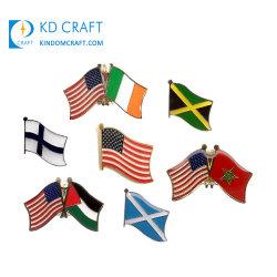 Бесплатные образцы металлических канадских Индии Значок Custom Австралии Америки Пакистан Креста США US National Rainbow Texas Instruments тонкий голубой линии страны флага петличный флаг контакт