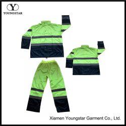 Hi Vis Raincoat Nylon Pants vestuário de segurança Mens Reflective Chuva Prensa