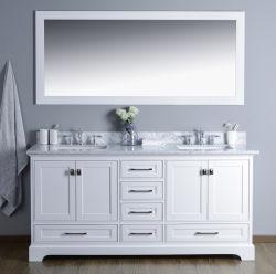 """72"""" предварительно собранную белого мрамора верхней части цельной древесины ванной комнате"""