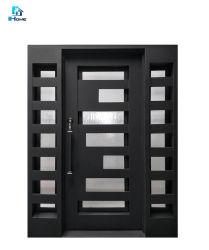 Televisão de ferro forjado portas de entrada, simples e dupla de ferro exteriores das portas dianteiras