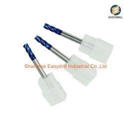 HRC65 4 Flöten flache beschichtete Vollhartmetall-Schaftfräser