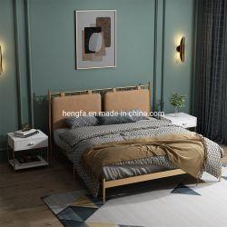 Современные спальни мебель ткань подушку из нержавеющей стали кровать рамы