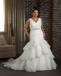 Camadas Organza Guilhotina Cordão Suite Beca mulheres vestidos Sexy V Pescoço Plus Size vestido de casamento