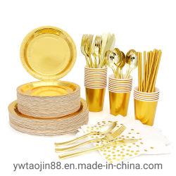 Grau alimentício Gold de louça de papel definido para casamento festa de aniversário