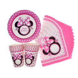 Die rosafarbene minimale Mäusepartei gibt Kind-Wegwerfserviette-Tuch-Platten-Cup Wedding Dekoration-Baby-Dusche-Geburtstagsfeier-Bevorzugungen an
