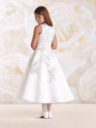 Vintage цветочный девочек платье для свадьбы 10 лет Satin использованием стекла Tea-Length
