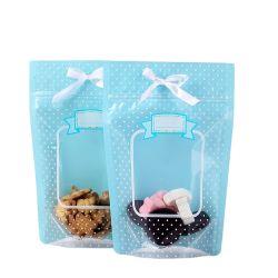 Plástico reciclable transparente Stand up Pouch con cremallera para envasado alimentario