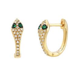 2021 Commercio all'ingrosso Custom Designer Dainty Gemstone 18K Gold Plated Diamond 925 Orecchini a cerchio in argento sterling Snake Huggie Hoop Gioielli di moda per Signore