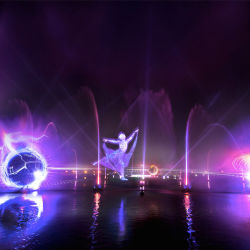Exterior 3D personaliza la pantalla de Agua de la música colorida fuente