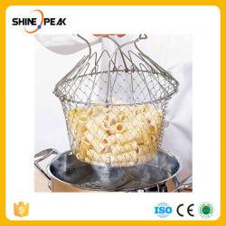 1PCS Foldable蒸気の洗浄の緊張の揚げ物のフランスのシェフのバスケットのツールを調理する魔法のバスケットの網のバスケットのこし器のネットの台所