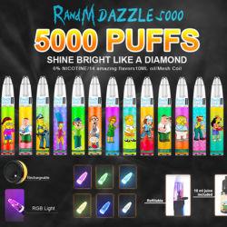 أفضل سعر قابل لإعادة الشحن 5000puffs راندم دازل 5000 بالجملة E السجائر