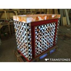 中国のオニックス棒のための製造者によってバックライトを当てられるオニックス大理石の装飾的なアクリルの壁パネルからの価格のアラバスターの平板