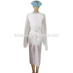 FDA jetables/CPE/PE PP non tissé Poignets tricotés Steile/robe d'isolement non stériles